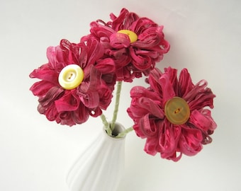 3 Dark Pink Ribbon Flowers, raspberry pink bouquet