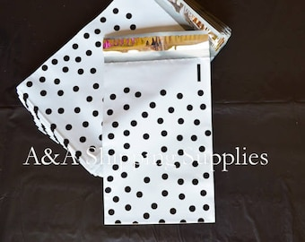 """6""""x9"""" Black Polka Dots White Poly Envelopes, Quality Bags, Flat Poly Mailing Shipping Bags, UPS, FedEx, USPS Approved"""