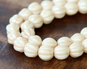 Opaque Champagne Luster Czech Glass Beads, 8mm Melon - 25 pcs - eP14413-08
