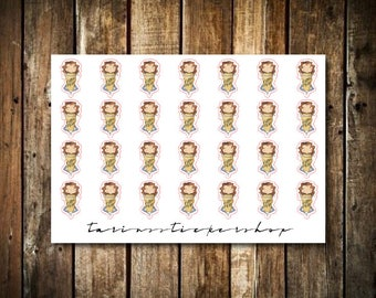 Coffee - Cute Brunette Girl - Functional Character Stickers