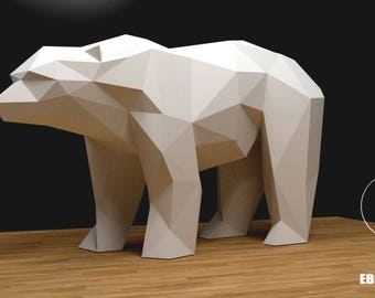 Bear Papercraft XXL, 3D Papercraft,  Build Your Own, Low Poly Paper Sculpture Origami PDF Download (DIY gift, Wall Decor home Decor office)