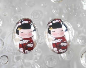 2 glass cabochons 18mm x 13mm Japanese theme