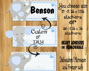 Baby boy Elephant Dishwasher safe and Waterproof Kid's Labels name sticker Daycare Sticker Daycare label Elephant Sippy cup decals stickers