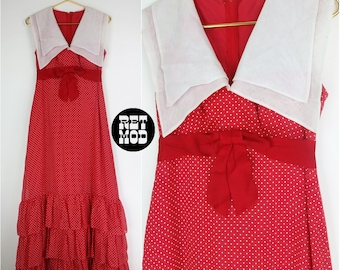 SASSY Vintage 60s 70s Red & White Polkadot Ruffle Maxi Sailor Dress!