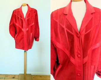 red 80s suede overzize jacket from Spain