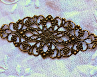 Large Antique Bronze Filigree Metal Embellishment - 1 piece