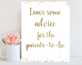 Printable Advice Sign, Baby Shower Advice, Leave Advice For Parents To Be, Gold Confetti, Instant Download, Advice Cards Baby Shower BBSG1