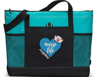 Nurse Life for RN, LPN, LVN, Embroidered Zippered Tote Bag With Mesh Pockets, Beach Bag, Boating