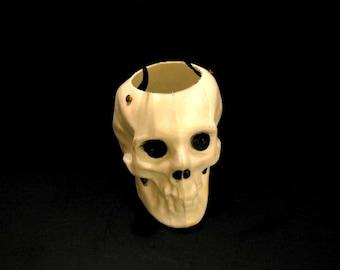 Vintage Blow Mold Skull Candy Pail Halloween Decor Skeleton Decor Trick or Treat Pail Vintage Halloween Skeleton Halloween Skull Decor
