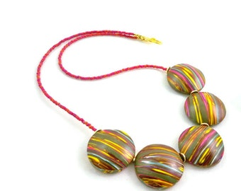 Polymer clay necklace chunky rounds with stripes beautiful accent statement