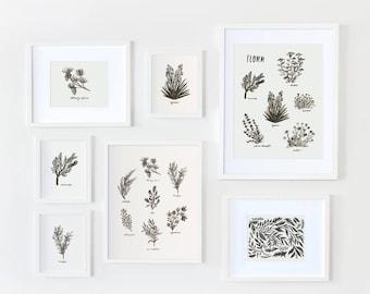 "California Botanical Collage 8"" x 10"" Art Print"