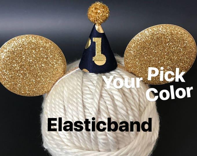 Baby Mickey Ears,Birthday Mickey Ears,Mickey theme Birthday,Mouse Ears,Mickey Elastic Headband,Baby Mouse Ears,Mickey Ears Elastic band