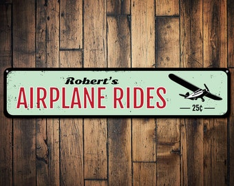 Airplane Rides Sign, Personalized 25 Cents Sign, Airplane Sign, Metal Aviation Decor, Custom Pilot Name Sign - Quality Aluminum ENS1001153