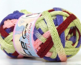 Ruffles Yarn pink, green, lavender and copper