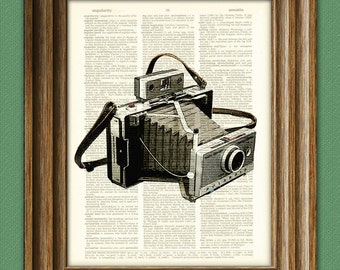 Antique POLAROID LAND CAMERA 100 print over an upcycled vintage dictionary page book art 2