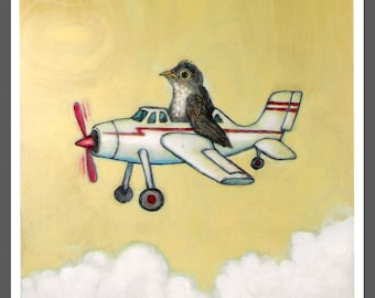 baby robin stuffed into a toy airplane bird no. 15 art PRINT c-print