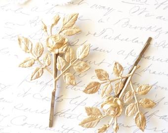 Golden Rose Blossom Hair Pins - Leaf Branch Bobby Pins - Wedding Hair Pins- Bridal Hair Pin - Woodland Hair Pins - Rose Spray Bobby Pins