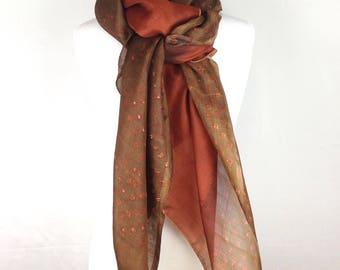 Brown Scarf; Silk Yoga Scarf; Silk Shawl; Upcycled Silk Scarf; Tie dye Scarf