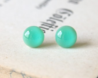 Minty Earring Posts - Mint Green Fused Glass Ear Studs, Surgical Steel Hypoallergenic Jewellery Handmade by Ikuri Immortelle, Free shipping