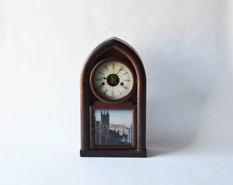 Antique William Gilbert Beehive Mantel Clock Winchester Connecticut Reverse Painted Glass FREE SHIPPING