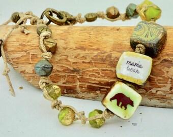 Handmade Mama Bear Bracelet, Cute Mom Bracelet, Perfect Gift for New Mom, Earthy Bear Jewelry, Nature Inspired, Casual Green Bracelet