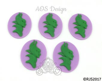 Victorian Cameo Purple Green Resin 5 Cameo Lot Jewelry Maleficent Sleeping Beauty Villain Cameo Crafts Bow Making Gifts Halloween Costume