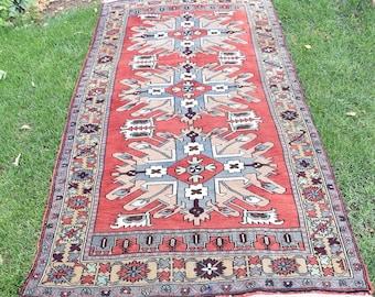 4 by 8 rug, Vintage Oushak Rug, Vintage Rug, Oushak Area Rug, Turkish Vintage Rug, Oushak Rug, Area Rug, Caucasian Rug, Boho Rug, Rustic Rug