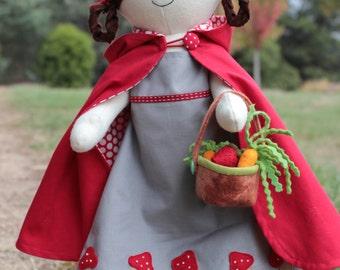 Red riding hood, Cloth doll pdf, rag doll pattern pdf, plush doll pdf, plush pdf pattern, softie pdf, rag doll pdf, diy doll pattern,