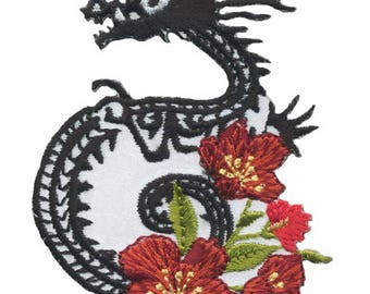 Patch fusible Asian Dragon and flower applique sew patch
