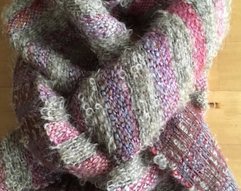 Colourful striped scarf in alpaca, silk, bamboo, linen and mohair