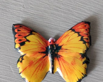Vintage Tin Litho Yellow Butterfly Brooch Pin, made in Japan