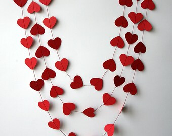 Valentine decor, Heart garland, Valentines day decor, Valentine garland, Wedding decoration, Bridal shower, Red heart garland, KCO-3047