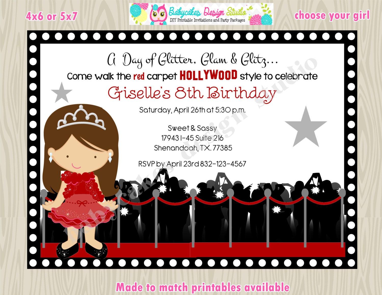 Hollywood diva red carpet birthday party invitation invite