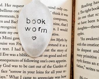 Book Worm, Bookmark, Vintage Bookmark, Stamped Spoon, Book Club Gift, Book Worm, Stamped Bookmark, Spoon Bookmark, Silver Bookmark,