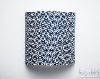 """Applique murale """"Vagues"""" bleu marine, japonisant, géométrique, abat jour, abatjour"""