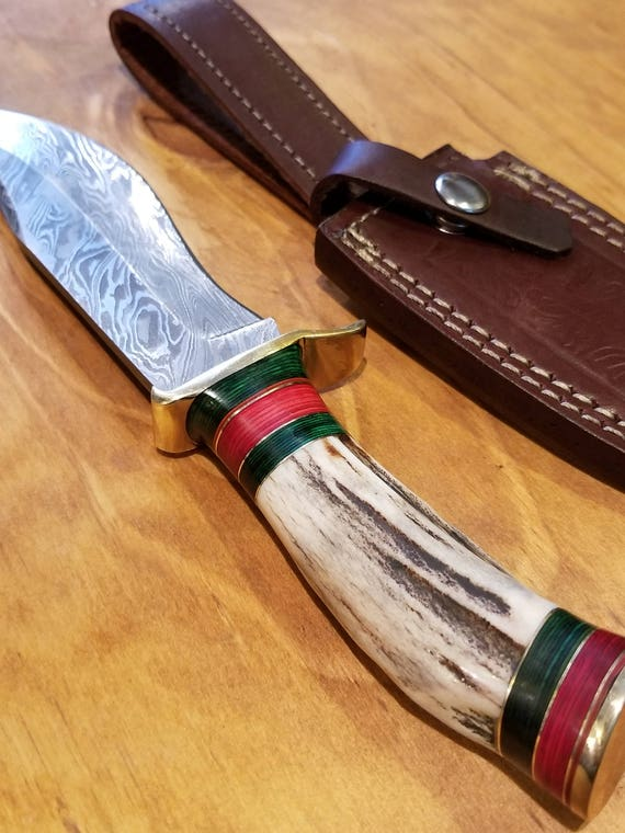 Handmade Deer Antler Handle Hunting Knife Damascus Blade Stag Horn Collection With Leather Sheathe Premium Outdoors (A182)