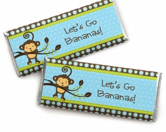 Blue Monkey Boy Candy Bar Wrappers - Monkey Party Favors for Baby Shower or Birthday Party - Printed Candy Wrappers and Foils - Set of 24