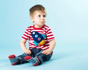 Rocket T-Shirt, Baby T-Shirt, Toddler T-Shirt, Baby Boy T-Shirt, Stripe TShirt, Baby Boy Clothes, Baby Gift, 1st Birthday, Baby Shower Gift