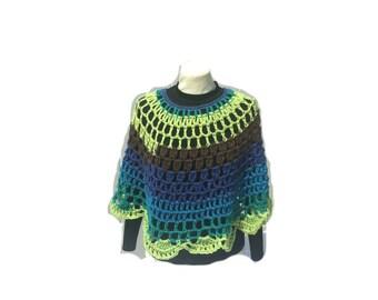 Peacock Crochet Poncho PDF Pattern Round Shawl Handmade Crochet Pullover Poncho Capelet Coverup