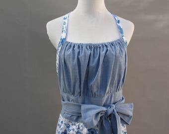 Ladies Apron With Blue and White  Floral Fabric