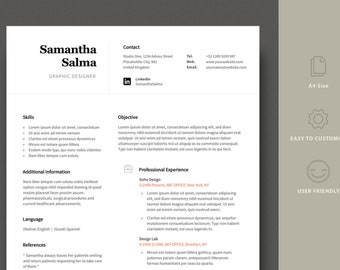 Modern Resume Template / CV Template + Cover Letter | Professional and Creative Resume | Teacher Resume | Word Resume | Instant Download