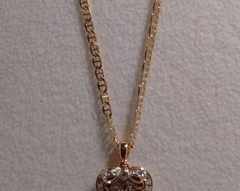 GOLD-FILLED Heart Locket Necklace with Rhinestones and Bow