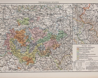 1900 Antique Times Map, Europe, Germany, Thuringian States
