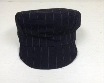 Boys train hat, black pinstripe Train hat,  Toddler train hat, Train engineer hat, Engineer cap, Train Cap, Baby boy hat