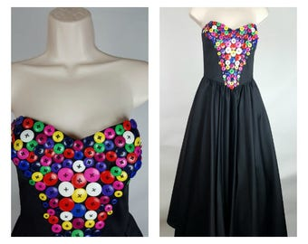 Victor Costa Dress, Embellished with Multicolor Buttons, Stapless, Rainbow, Full Skirt, Midi Length, Tea Length