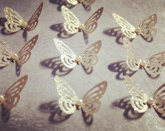 30 pieces Glitter Butterflies/ Paper Butterflies/ Butterflies DIE CUT/ Paper confetti/ Butterflies for scrapbooking/Glitter Wedding décor