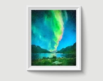 Aurora New Zealand Watercolor Painting Art Printable Q44