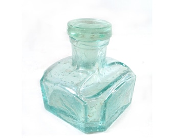 Antique Blown Glass Inkwell, French Aquamarine Ink Bottle