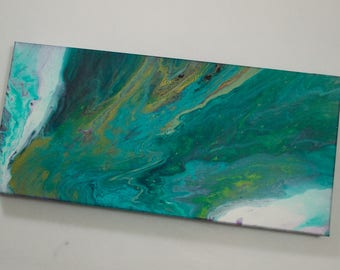 Original Acrylic Pour Painting, Abstract Painting, Acrylic Painting on Canvas, Green, White, Gold