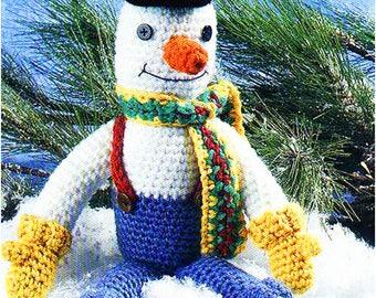 Instant PDF Digital Download Vintage Crochet Pattern to make Snowman .PDF Crochet Pattern - 877